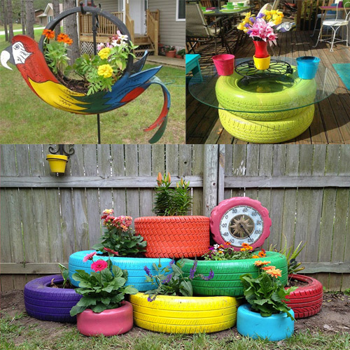 Garden decoration ideas with old tires decor world tips in Things to make out of old tires