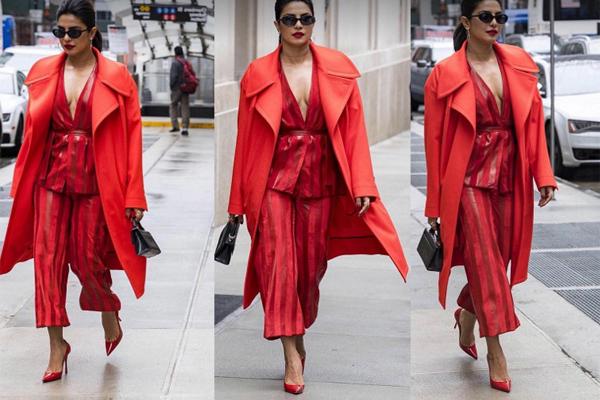 एक्ट्रेस प्रियंका चोपड़ा का इस रेड ड्रेस में दिखा stunning look
