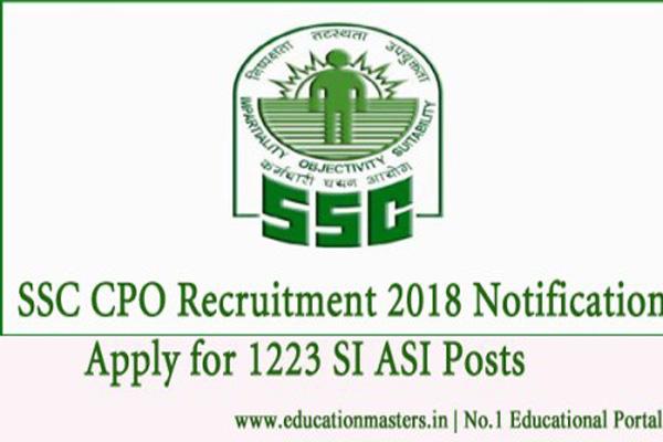 SSC CPO Recruitment:सब-इंस्पेक्टरपदोंपर निकली भर्तियां....